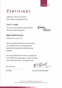 Zertifiziert für Kurzarbeit durch die Agentur für Arbeit