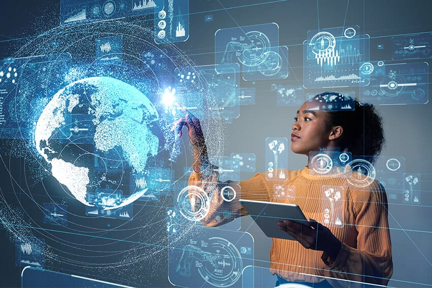 woman with digital skills training