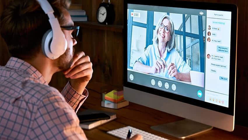man doing a live virtual classroom