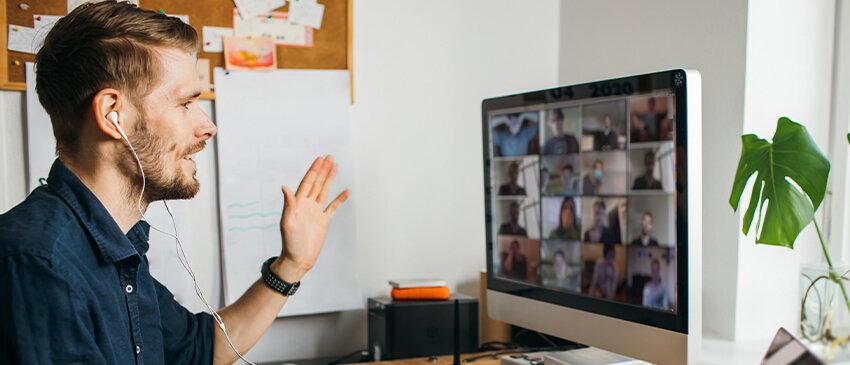 man in a virtual classroom