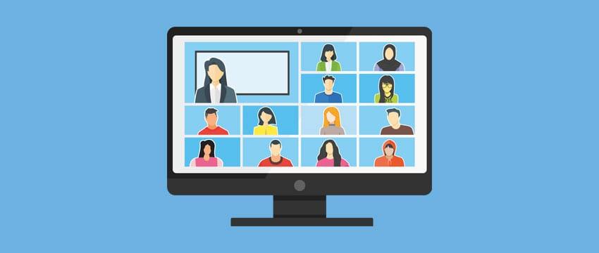 Mitarbeitende im virtuellen Klassenraum