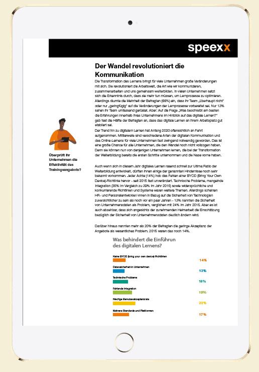 Der digitale Wandel in der Weiterbildung in einem Ipad dargestellt