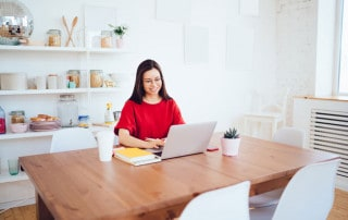 Woman is working from home in 2020
